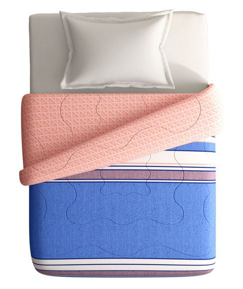 Classic Blue, Peach & White Striped Single Size Comforter (100% Cotton, Reversible) - Portico New York Lavender Collection