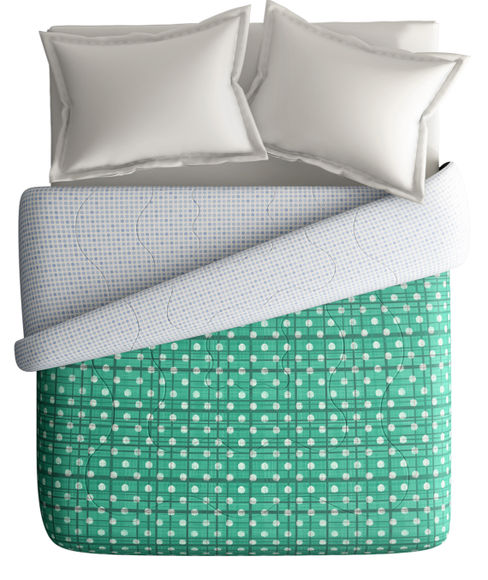 Sea Green Textured Print King Size Comforter (100% Cotton, Reversible) - Portico New York Hashtag Collection