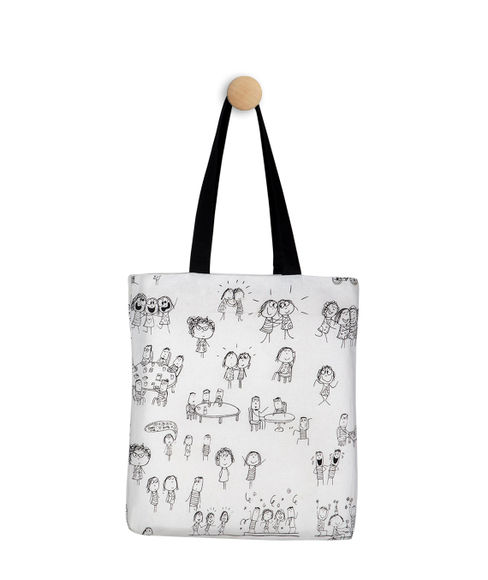 Graphic Characters Canvas Tote Bag, (36 X 40 cms) - Portico New York Happiness Is Collection