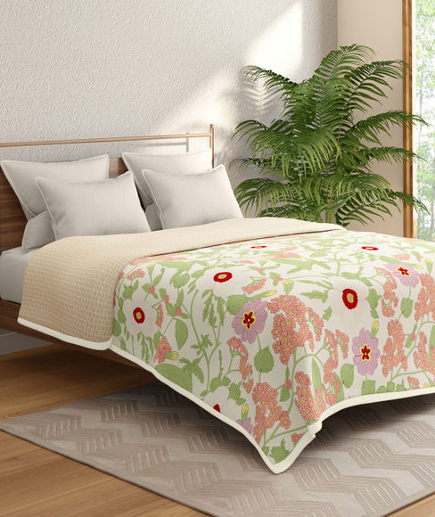 Red & Peach Floral Print Double Size Reversible Dohar(100% Cotton) - Portico New York Marvella Collection