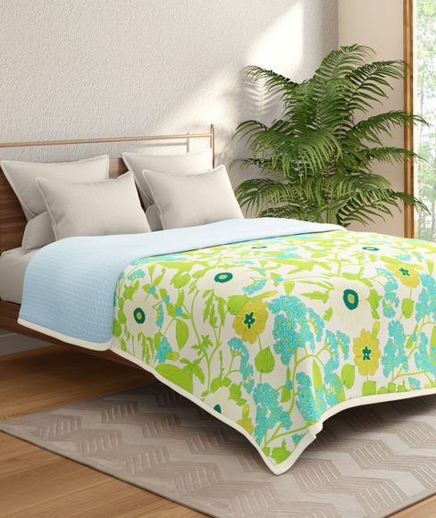 Green & Blue Floral Print Double Size Reversible Dohar(100% Cotton) - Portico New York Marvella Collection