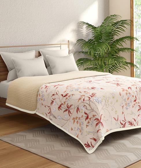Beige Delicate Floral Print Double Size Reversible Dohar(100% Cotton) - Portico New York Marvella Collection