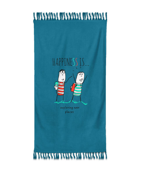 """""""Happiness Is Exploring New Places""""  Hydro Blue Colour, XL Bath Towel, (100% Cotton, 90 x 160 cms) - Portico New York New Happiness Collection"""