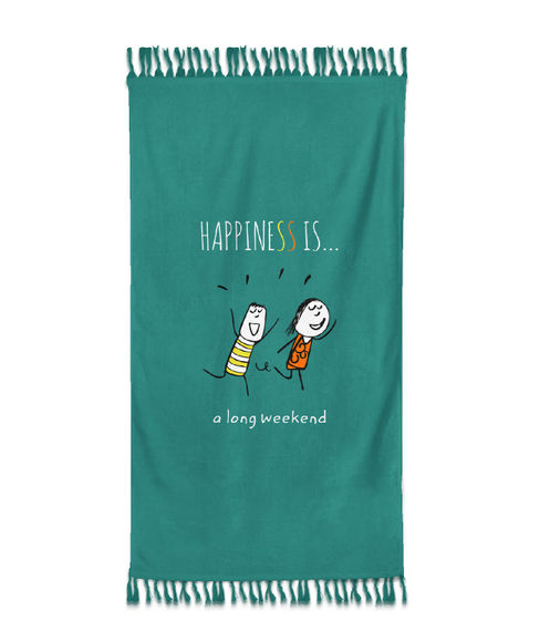"""""""Happiness Is A Long Weekend""""  Spruce Green Colour, XL Bath Towel, (90 x 160 cms) - Portico New York New Happiness Collection"""