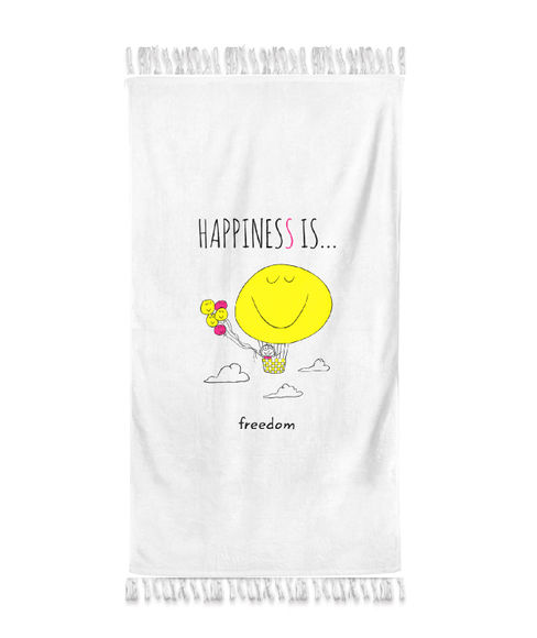 """""""Happiness Is Freedom""""  Frost White Colour, XL Bath Towel, (90 x 160 cms) - Portico New York New Happiness Collection"""