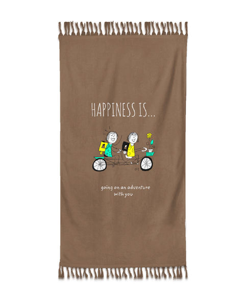 """""""Happiness Is Going On An Adventure With You""""  Nutmeg Colour, XL Bath Towel, (90 x 160 cms) - Portico New York New Happiness Collection"""