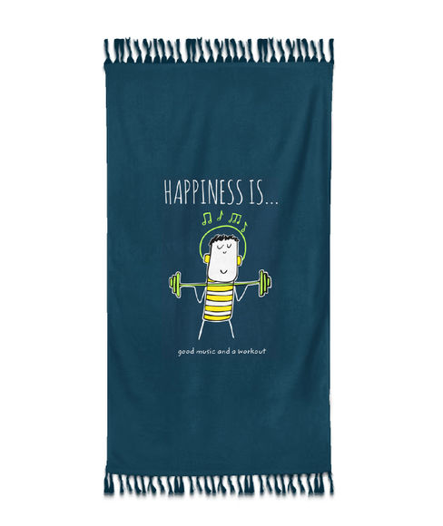 """""""Happiness Is Good Music And A Workout""""  Deep Teal Colour, XL Bath Towel, (90 x 160 cms) - Portico New York New Happiness Collection"""
