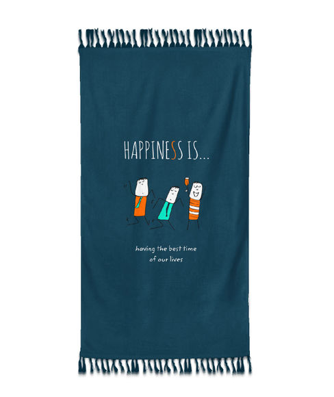"""""""Happiness Is Having The Best Times Of Our Lives""""  Deep Teal Colour, XL Bath Towel, (90 x 160 cms) - Portico New York New Happiness Collection"""