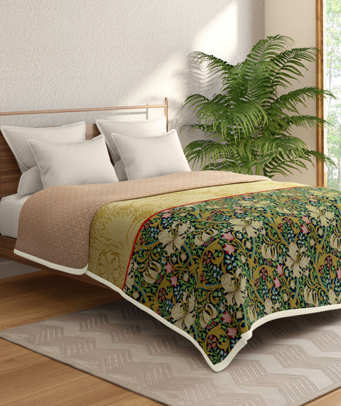 Multicoloured Floral Print Double Size Dohar (100% Cotton, Reversible) - Portico New York Shalimaar Collection