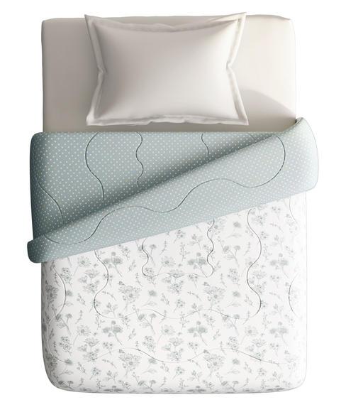 Black & White Floral Print Single Size Comforter (100% Cotton, Reversible) - Portico New York Melange Collection