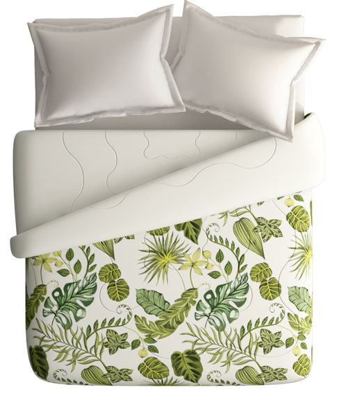 Tropical Green Nature Print King Size Comforter (100% Cotton, Reversible White Back) - Portico New York House of Misu Havana Collection