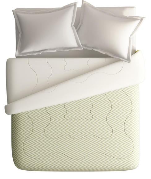 Avacado Green Sideways Ikat Print King Size Comforter (100% Cotton, Reversible White Back) - Portico New York House Of Misu Havana Collection