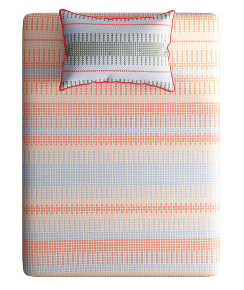 Multi-Colour Intricate Circle Print Bedsheet With 1 Reversible Pillow Covers (100% Cotton, Single Size) - Portico New York Hashtag Collection