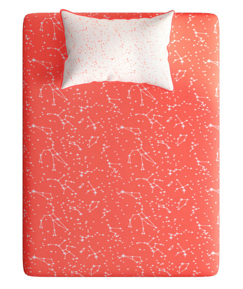 Coral & White Constellation Bedsheet With 1 Reversible Pillow Cover (100% Cotton, Single Size) - Portico New York Hashtag Collection