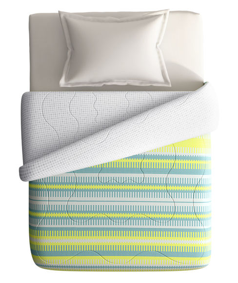 Teal & Lime Trendy Print Single Size Comforter (100% Cotton, Reversible) - Portico New York Hashtag Collection