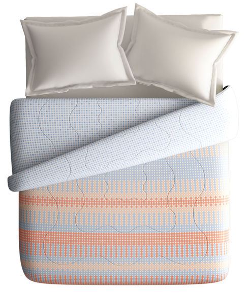 Peach & Grey Trendy Print King Size Comforter (100% Cotton, Reversible) - Portico New York Hashtag Collection