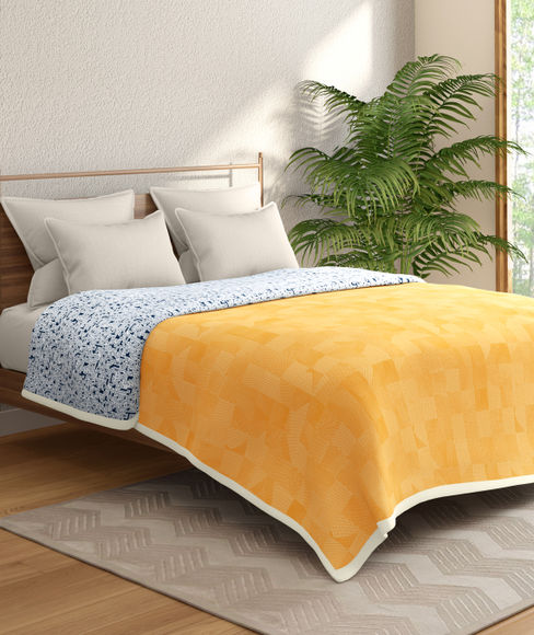 Mustard Abstract Print Double Size Dohar (100% Cotton, Reversible) - Portico New York Hashtag Collection
