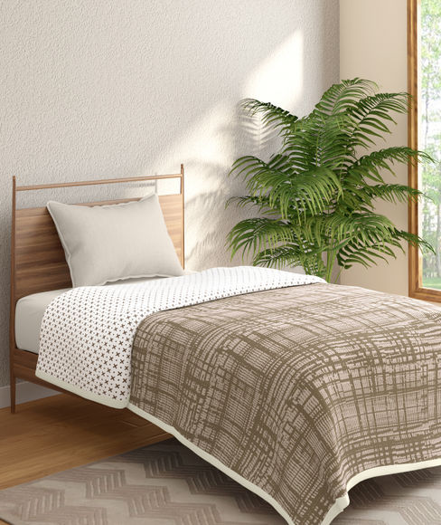 Brown Textured Print Single Size Reversible Dohar(100% Cotton, Single Size) - Portico New York Hashtag Collection