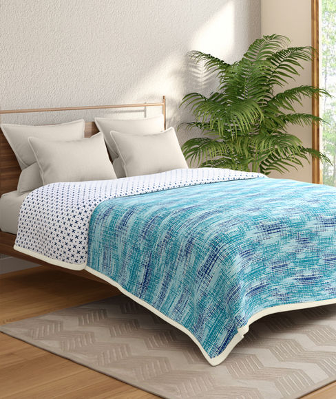 Blue Textured Double Size Reversible Dohar(100% Cotton, Queen Size) - Portico New York Hashtag Collection