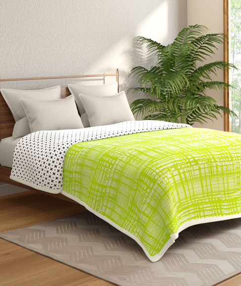 Lime Green Textured Double Size Reversible Dohar(100% Cotton, Queen Size) - Portico New York Hashtag Collection