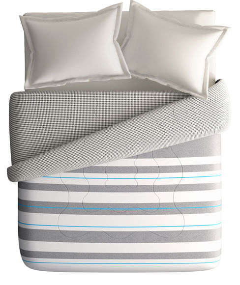 Grey & White Striped King Size Comforter (100% Cotton, Reversible) - Portico New York @Codes Collection