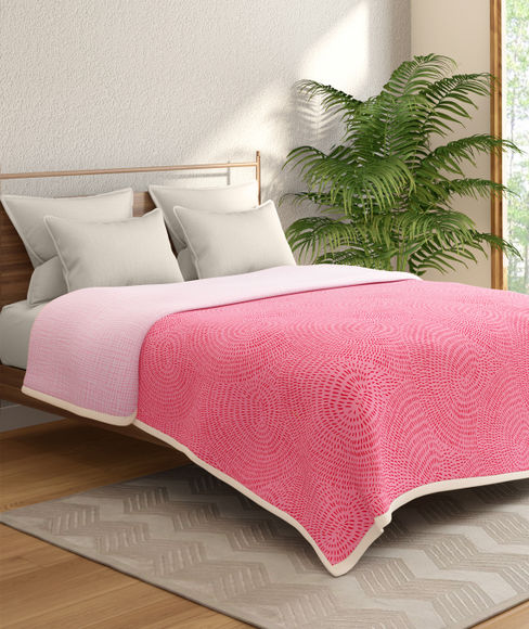 Pink Textured Print Double Size Dohar (100% Cotton, Reversible) - Portico New York Marvella Collection
