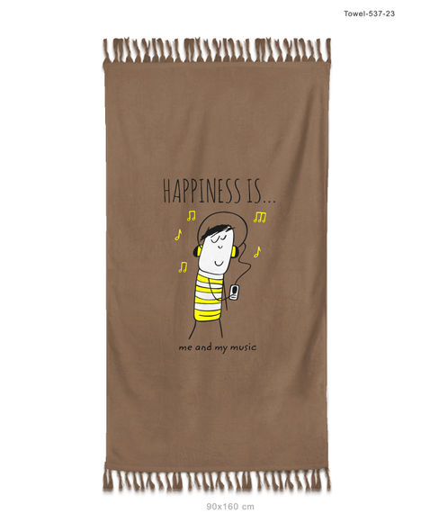 """""""Happiness Is Me And My Music""""  Nutmeg Colour, Medium Bath Towel, (65 x 120cms) - Portico New York New Happiness Collection"""