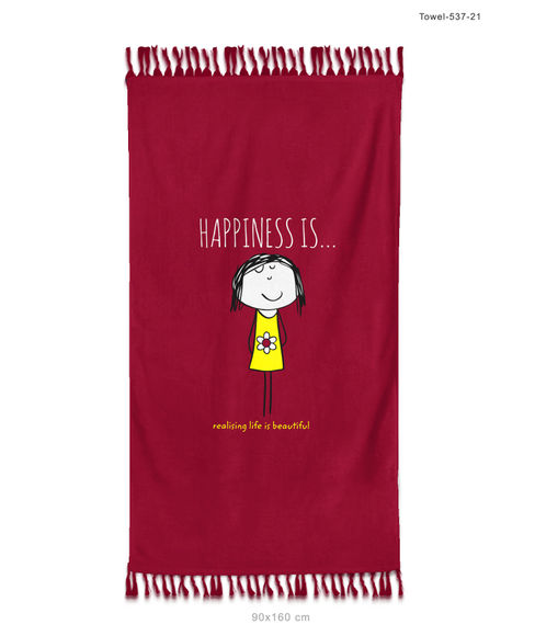 """""""Happiness Is Realising Life Is Beautiful""""  Wine Colour, XL Bath Towel, (90 x 160 cms) - Portico New York New Happiness Collection"""