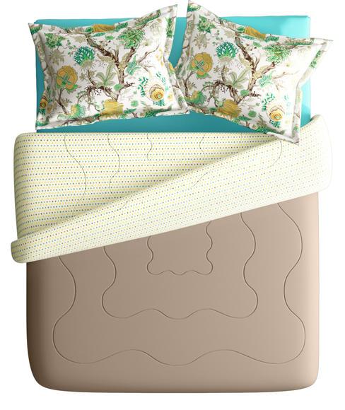 Pistachio Floral Print Super King Size Bedsheet & Comforter Set (100% Cotton, Reversible) - Portico New York Mix Don't Match Collection