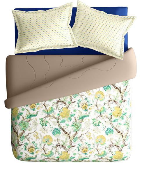 Vintage Floral Print Super King Size Bedsheet & Comforter Set (100% Cotton, Reversible) - Portico New York Mix Don't Match Collection