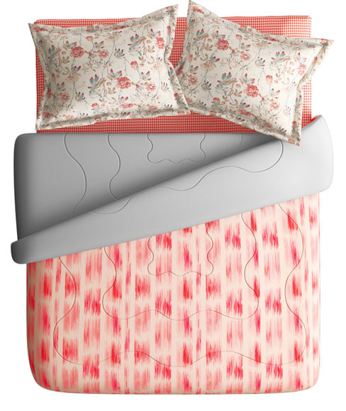 Floral Red Checkered Print Super King Size Bedsheet & Comforter Set (100% Cotton, Reversible) - Portico New York Mix Don't Match Collection