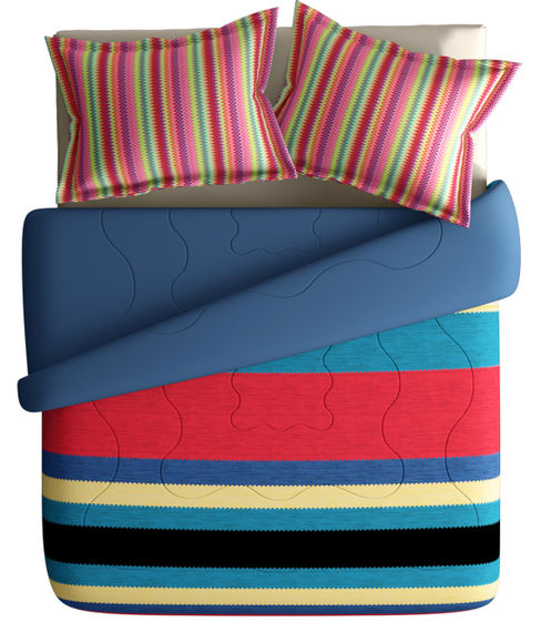 Striking Striped Print Super King Size Bedsheet & Comforter Set (100% Cotton, Reversible) - Portico New York Mix Don't Match Collection