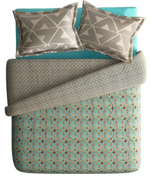 Artistic Diamond Pattern Super King Size Bedsheet & Comforter Set (100% Cotton, Reversible) - Portico New York Mix Don't Match Collection