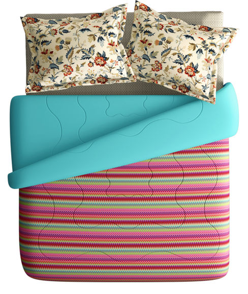 Striped Vibrant Cosy Super King Size Bedsheet & Comforter Set (100% Cotton, Reversible) - Portico New York Mix Don't Match Collection
