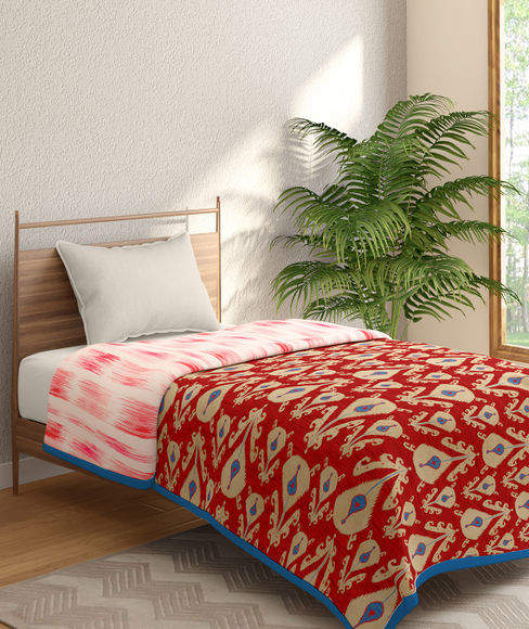 Red & Pink Ikat Print Single Size Dohar (100% Cotton, Reversible) - Portico New York Mix Don't Match Collection