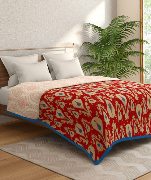 Red Ethnic Print Double Size Dohar (100% Cotton, Reversible) - Portico New York Mix Don't Match Collection
