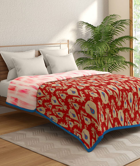 Red & Pink Ikat Print Double Size Dohar (100% Cotton, Reversible) - Portico New York Mix Don't Match Collection
