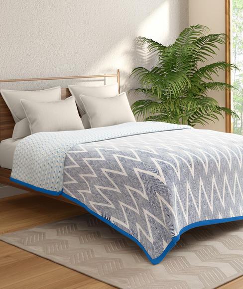 Blue & White Ikat Print Double Size Dohar (100% Cotton, Reversible) - Portico New York Mix Don't Match Collection