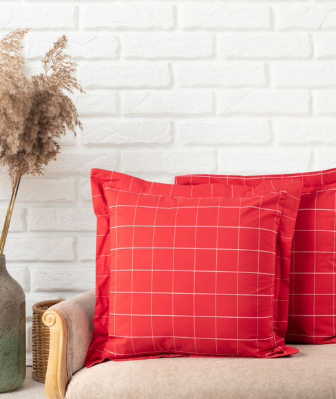 Red Checkered Sham Covers (Set of 2) - Portico New York Havelock Collection
