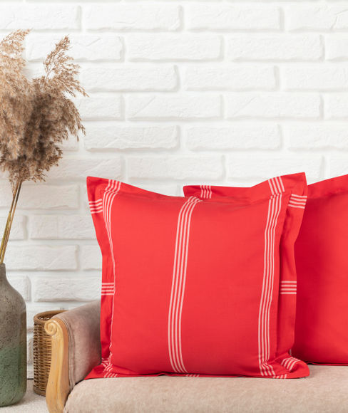 Red Striped Sham Covers (Set of 2) - Portico New York Havelock Collection