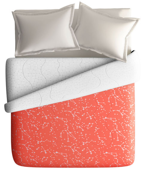 Coral Colour Constellation Print King Size Comforter (100% Cotton, Reversible) - Portico New York Hashtag Collection