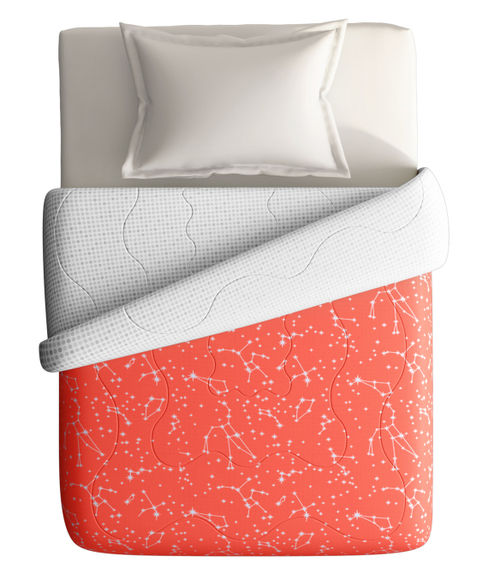 Coral Constellation Print Single Size Comforter (100% Cotton, Reversible) - Portico New York Hashtag Collection