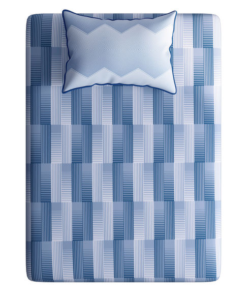 Blue Hues Geometric Print Bedsheet With 1 Reversible Pillow Cover (100% Cotton, Single Size) - Portico New York Hashtag Collection