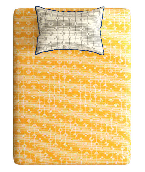 Mustard Yellow, Intricate Geometric Print Bedsheet With 1 Reversible Pillow Cover (100% Cotton, Single Size) - Portico New York Hashtag Collection