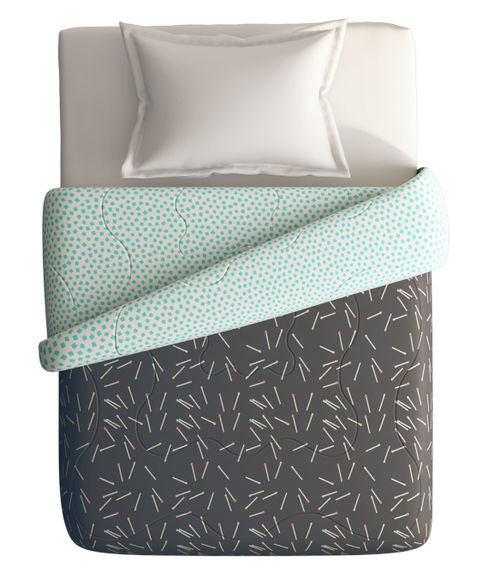 Charcoal Matchstick Print Single Size Comforter (100% Cotton, Reversible) - Portico New York Hashtag Collection