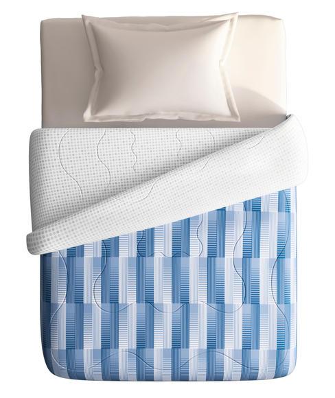 Blue Geometric Print Single Comforter (100% Cotton, Reversible) - Portico New York Hashtag Collection