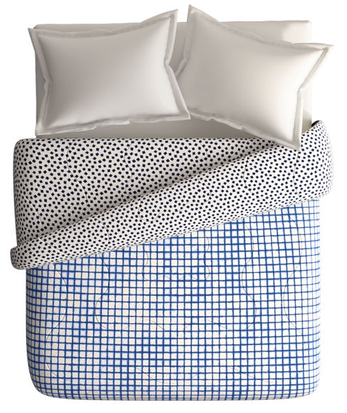 Blue Tiled Checkered Print Double Size Comforter (100% Cotton, Reversible) - Portico New York Hashtag Collection