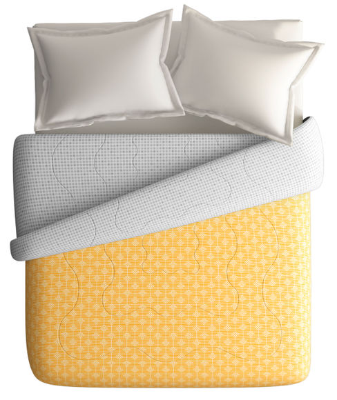 Mustard Yellow Intricate Print King Size Comforter (100% Cotton, Reversible) - Portico New York Hashtag Collection