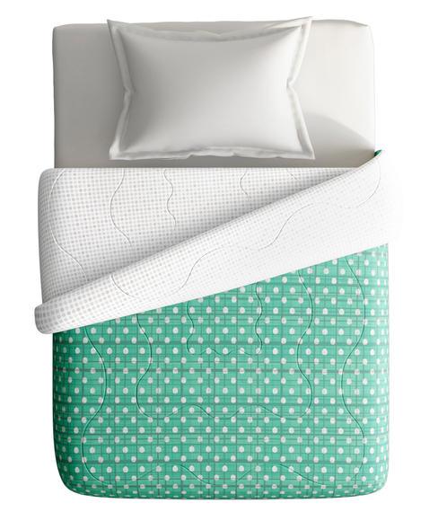 Sea Green Textured Print Single Size Comforter (100% Cotton, Reversible) - Portico New York Hashtag Collection