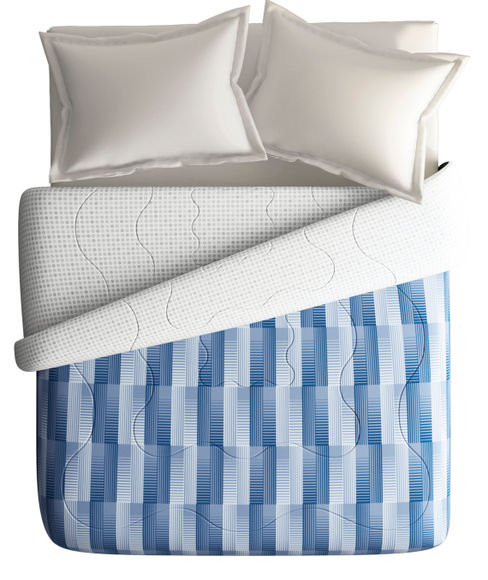 Blue Geometric Print King Size Comforter, Extra Fluffy For Extreme Winters (300 GSM, 100% Cotton, Reversible) - Portico New York Hashtag Collection